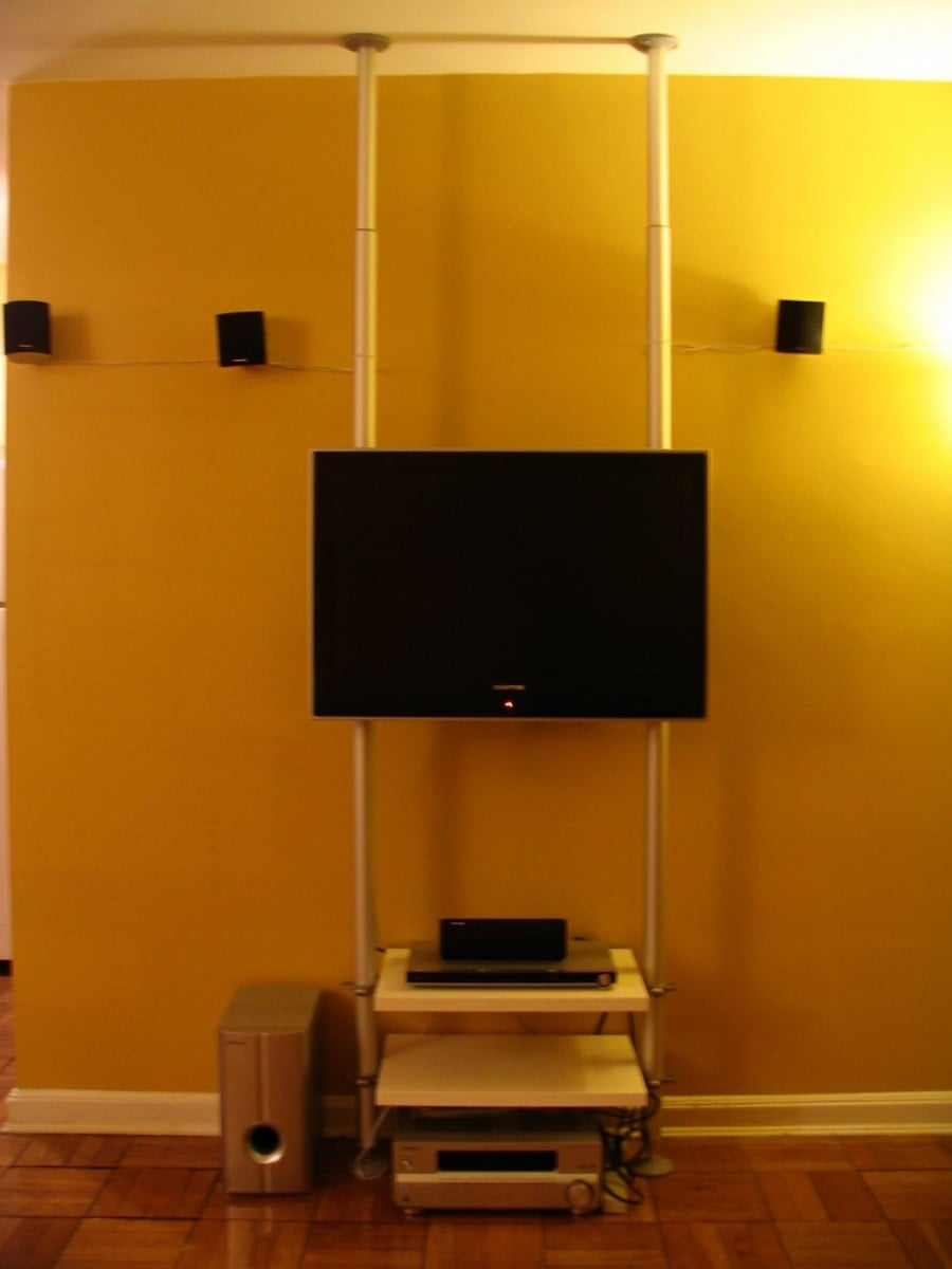 Hanging TV stand for small spaces