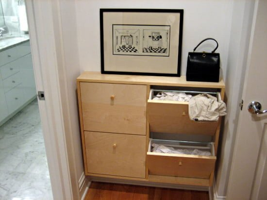 Slim laundry hamper made to fit small laundry area