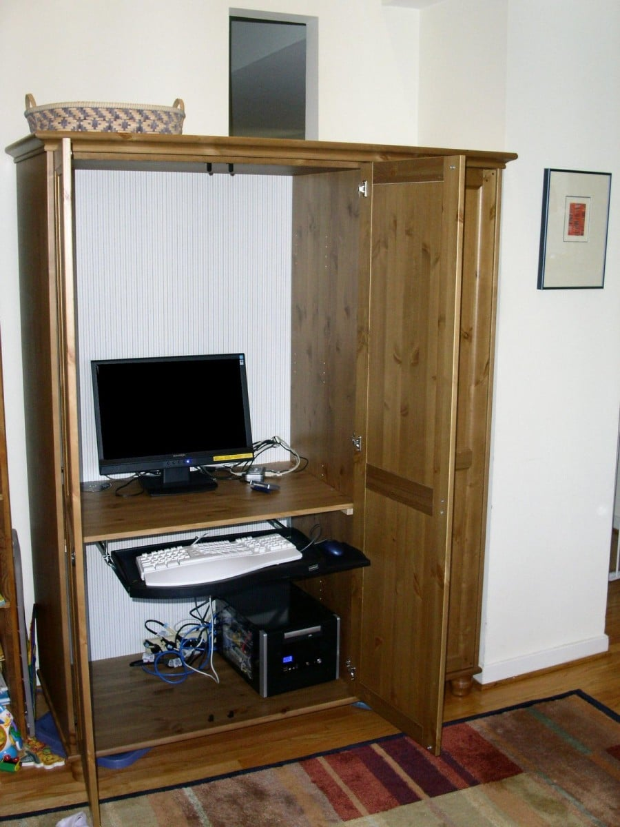 Wardrobe To Computer Workstation Ikea Hackers Ikea Hackers