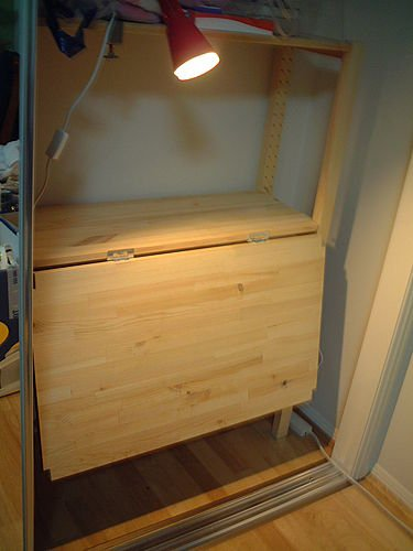 Fold down desktop from the ivar unit ikea hackers for 50cm deep kitchen units