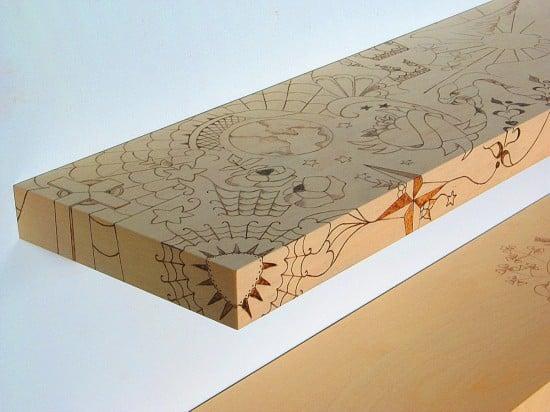 IIkea floating shelves - wood burn