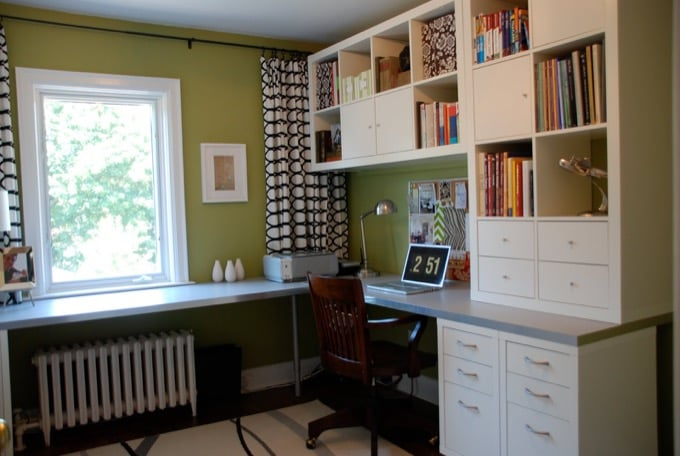 ikea home office makeover with l shaped desk