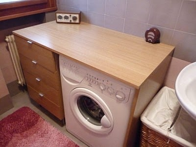 Cabinet and washing machine frame ikea hackers ikea for Kitchen cabinet washing machine