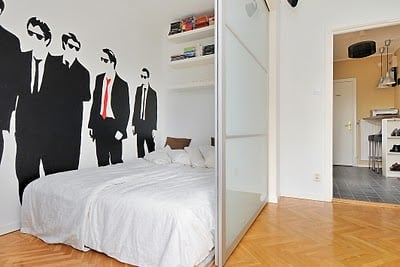 studio apartment divided into 1 bedroom