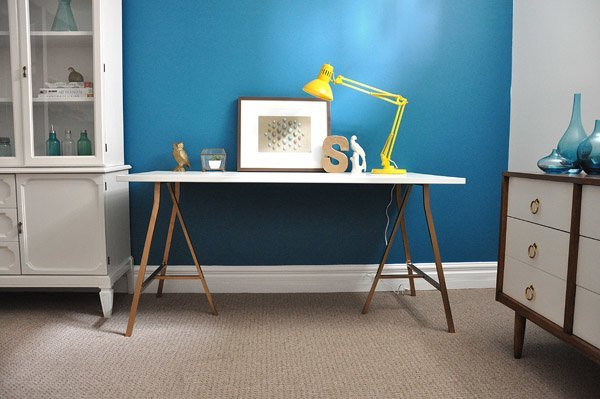 White And Gold Vika Trestle Desk Ikea Hackers Ikea Hackers