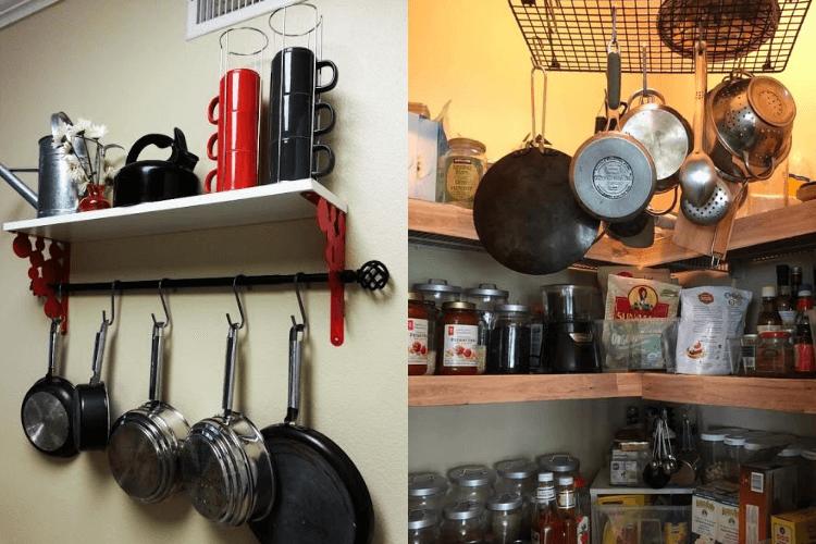 diy hanging pot rack