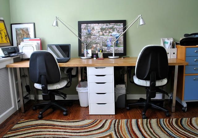 Butcher Block Perfect Double Desk Ikea Hackers Ikea