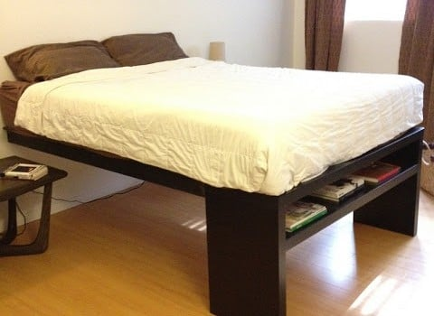 Lack sofa table platform bed ikea hackers ikea hackers for Lack sofa table hack