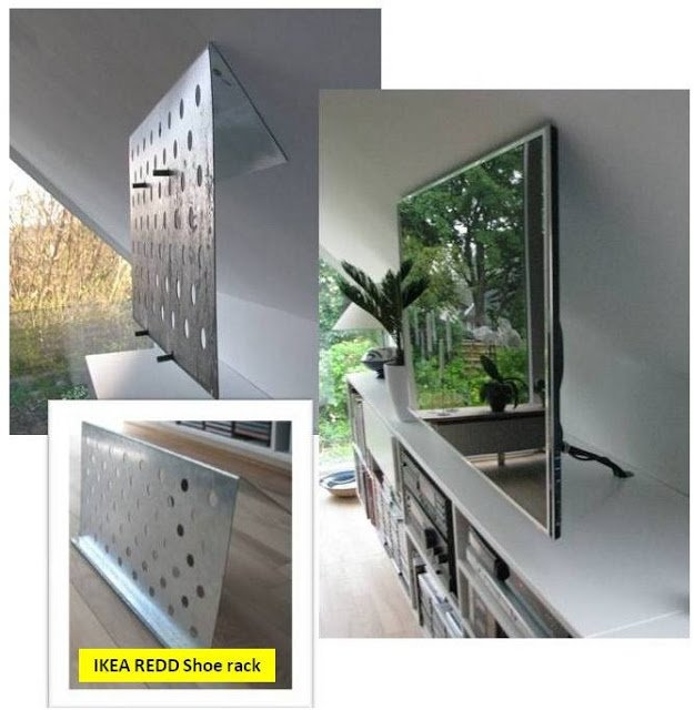Invisible flat screen tv suspension on sloping wall ikea - Slanted wall tv mount ...