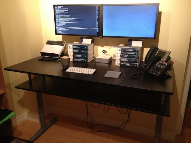 Galant Standing Desk With Monitor Shelf Ikea Hackers