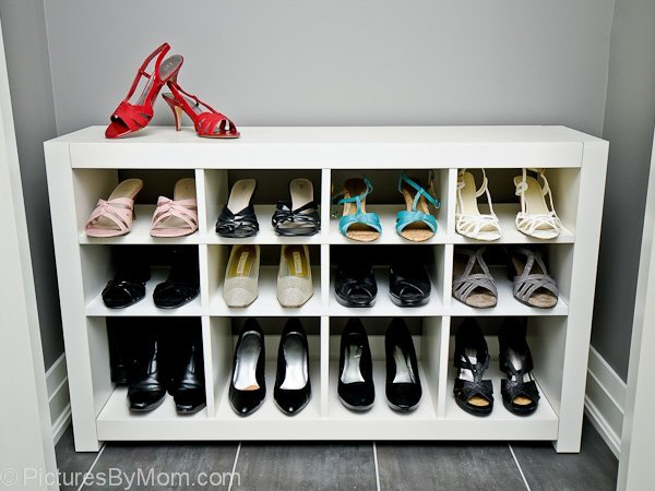 how to build a custom shoe rack from an ikea expedit