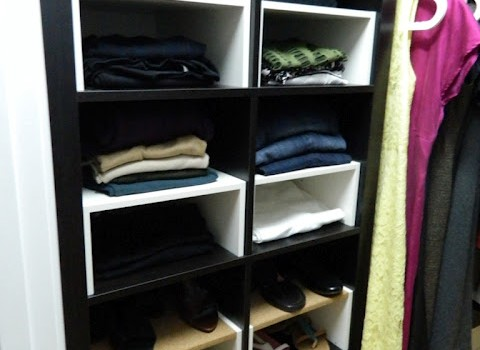Expedit in the Closet, with half-shelf inserts - IKEA