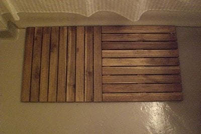 complete your spa bathroom with a wooden shower mat ikea
