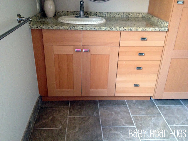 Ikea kitchen made into 39 custom 39 bathroom vanity ikea hackers for What are ikea kitchen cabinets made of