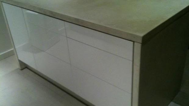 White Concrete Wrapped Ikea Kitchen Island Ikea Hackers