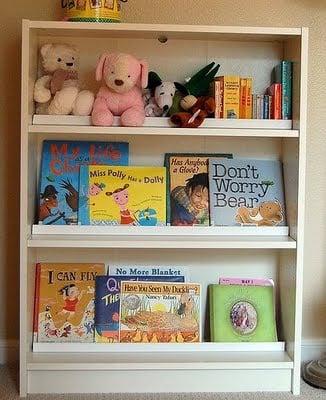 Children's front facing book rack - IKEA Hackers