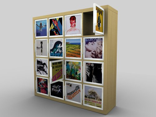 kickstarter ikea expedit hack with record covers ikea hackers ikea hackers. Black Bedroom Furniture Sets. Home Design Ideas