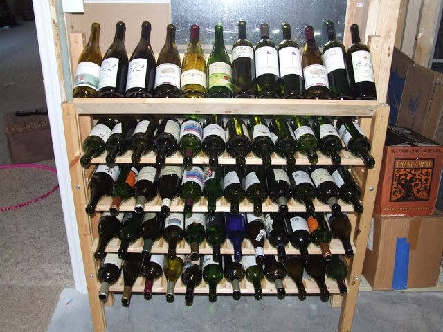 Make a wine rack out of an ikea bed frame ikea hackers for Wine shelves ikea