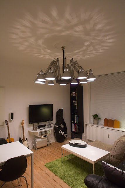 Modern Chandelier From Cheap Ikea Work Lamp Ikea Hackers