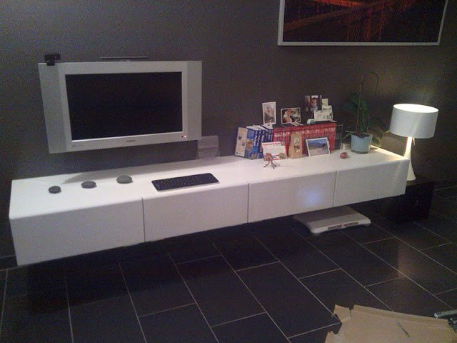 minimalistic floating tv unit ikea hackers. Black Bedroom Furniture Sets. Home Design Ideas