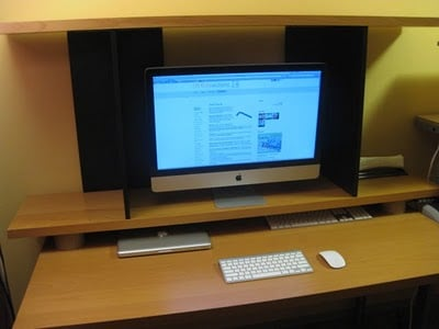 elevated imac monitor shelf ikea hackers. Black Bedroom Furniture Sets. Home Design Ideas