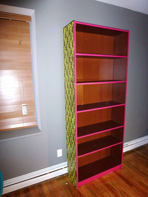 Materials Billy Bookshelf Lace Material Spray Paint In 100 Yellow And Magenta Painters Tape Newsprint Paper Drop Cloth