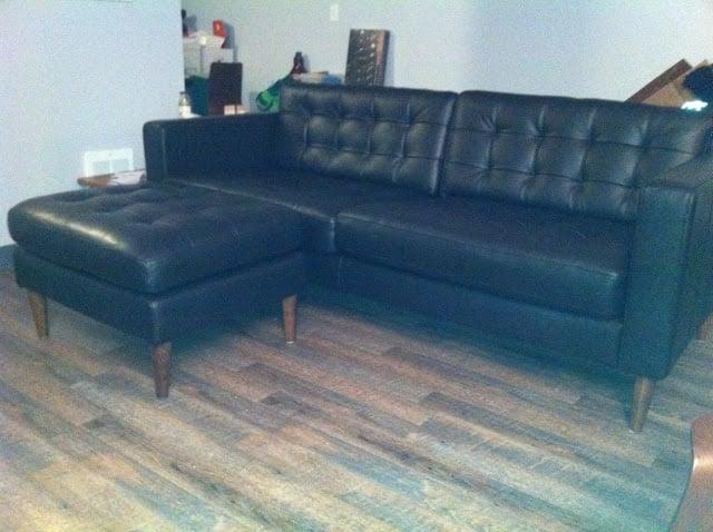 Mid Century Leather Karlstad Sofa Amp Ottoman Ikea Hackers