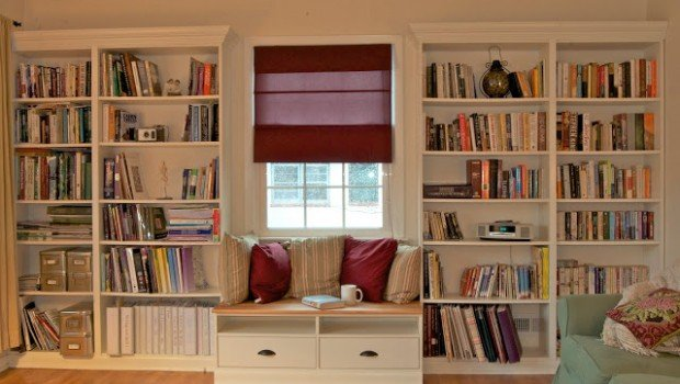 built in bookshelves with window seat for under 350 ikea hackers ikea hackers. Black Bedroom Furniture Sets. Home Design Ideas