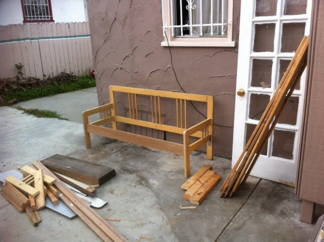 ikea full bedframe into garden bench ikea hackers. Black Bedroom Furniture Sets. Home Design Ideas