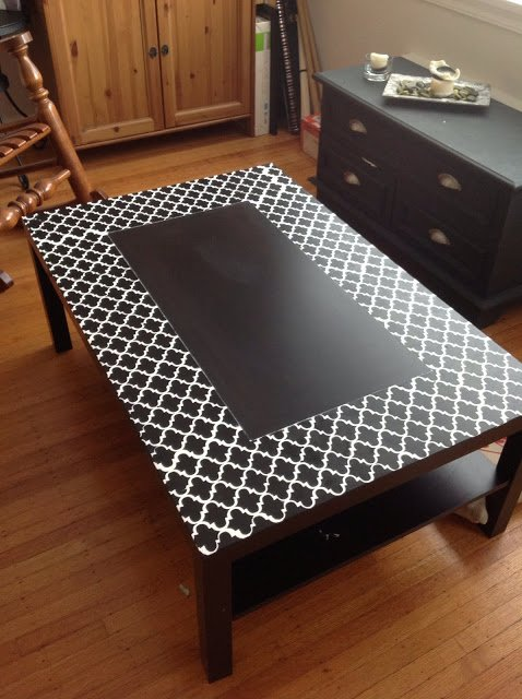 a stencilled lack coffee table ikea hackers. Black Bedroom Furniture Sets. Home Design Ideas