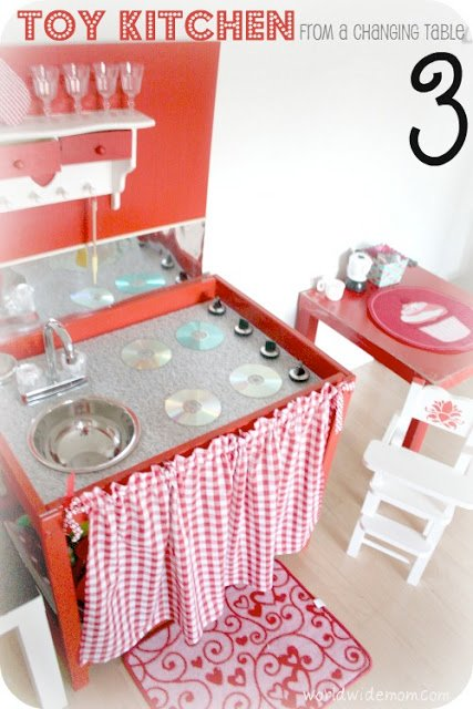 Toy Kitchen From A Changing Table Ikea Hackers