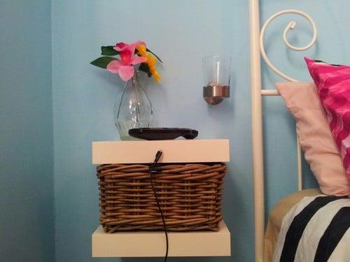 Lack shelves as bedside table ikea hackers for Ikea lack mensola