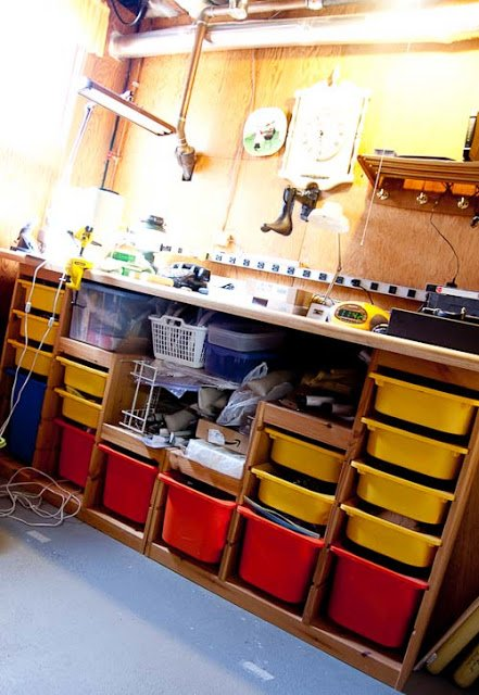 Work Bench Made From Trofast Toy Storage Units Ikea