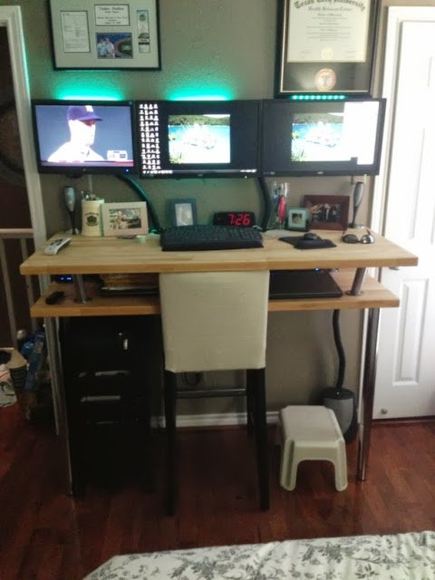 Numerar Standing Desk With Micke Drawer And Henriksdal Bar