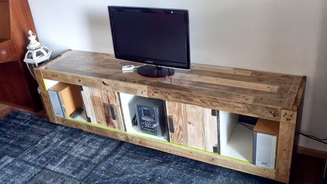 TV unit wrapped with wooden pallet