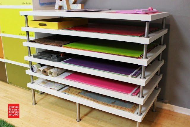 Flat file storage using linnmon table tops ikea hackers for Cardboard drawers ikea