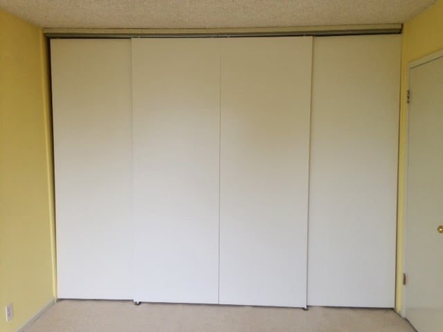 Full Height Wall To Wall Sliding Bypass Doors Using Hasvik Panels Ikea Hackers