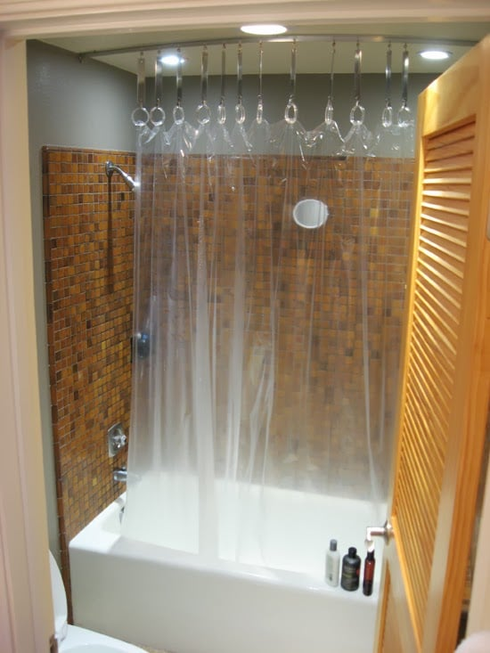 hack a ceiling track for shower curtain ikea hackers. Black Bedroom Furniture Sets. Home Design Ideas
