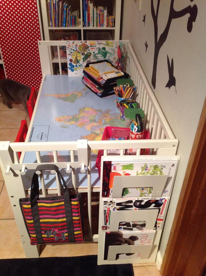 Kids 39 art craft homework table from ikea gulliver cot - Transformar muebles ikea ...