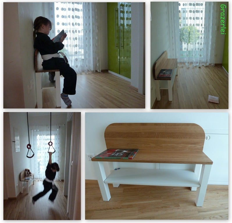bench easily made from lack table ikea hackers. Black Bedroom Furniture Sets. Home Design Ideas