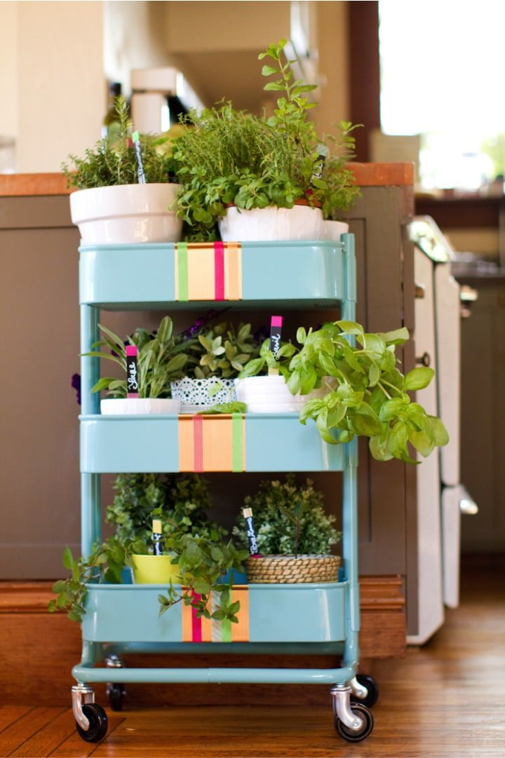 R skog kitchen cart into a rolling herb garden ikea hackers - Transformar muebles ikea ...