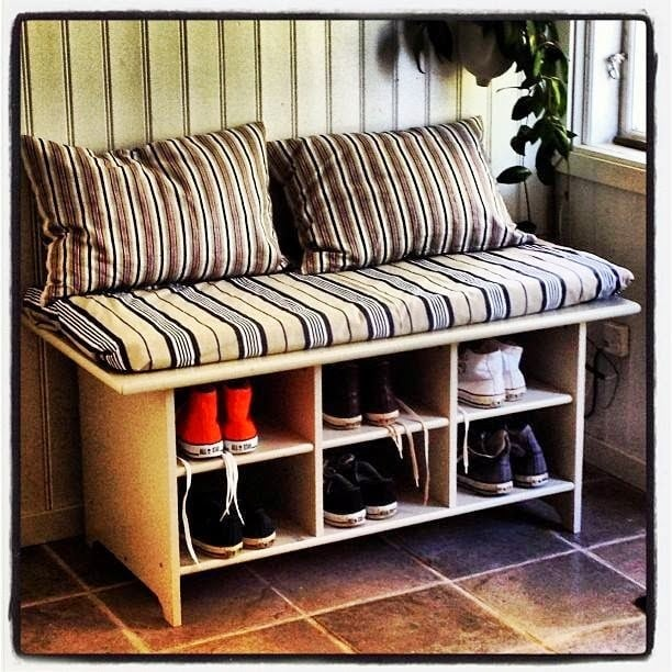 Leksvik coffee table to shoe bench ikea hackers ikea for Shoe rack bench ikea