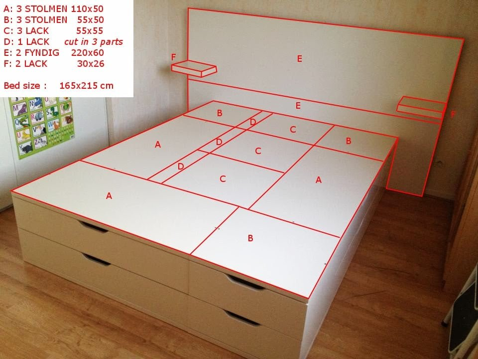 Put together a stolmen 165x215 cm bed with storage ikea - Cadre de lit 180x200 avec rangement ...
