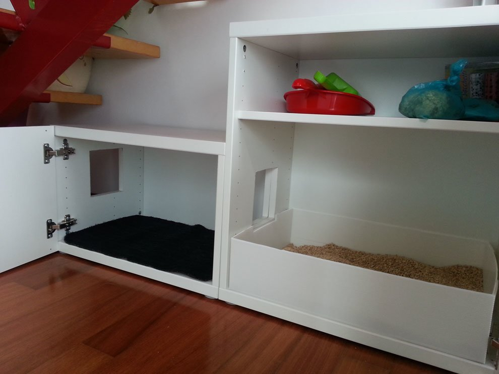 Another besta cat litter under the stairs ikea hackers for Ikea litter box