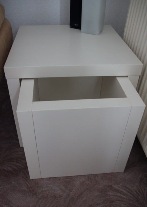 couch table with a snack drawer ikea hackers. Black Bedroom Furniture Sets. Home Design Ideas