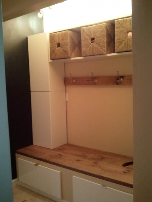 ikea mudroom with drawer bench