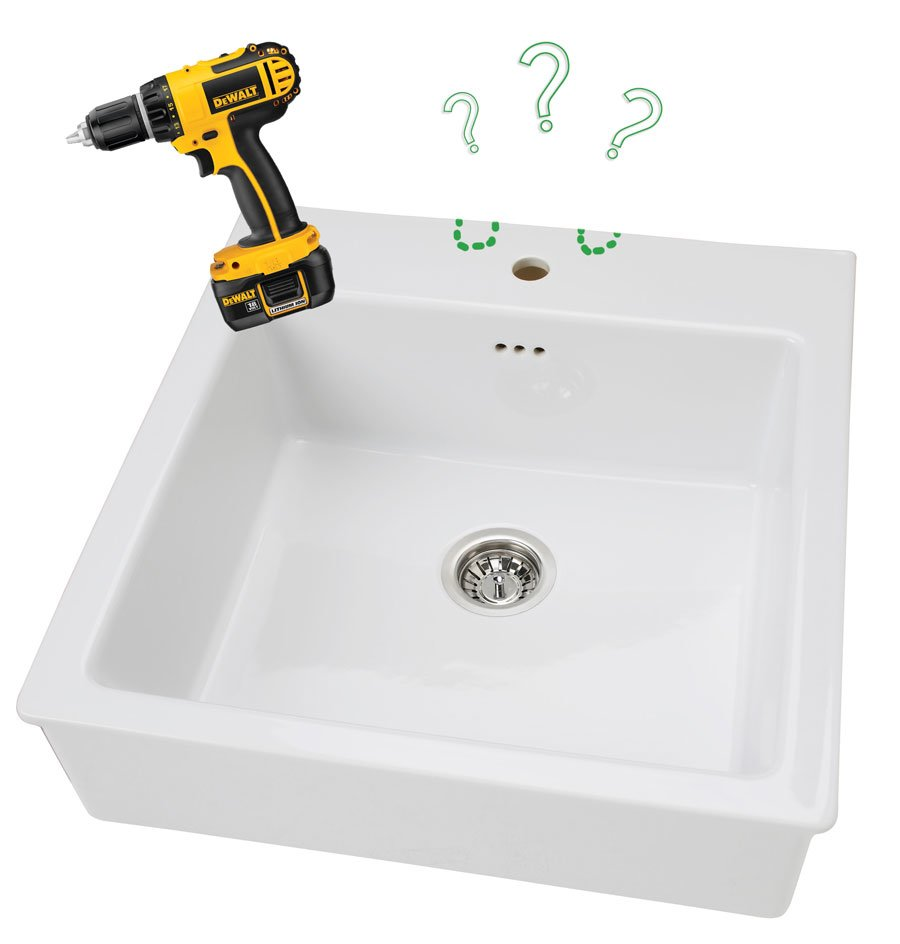 drilling in a domsj farmer sink ikea hackers ikea hackers. Black Bedroom Furniture Sets. Home Design Ideas