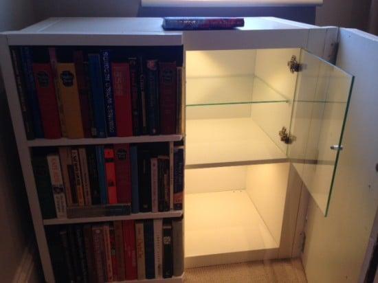 Lighting Basement Washroom Stairs: Fake Bookcase Hides Secret Cabinet