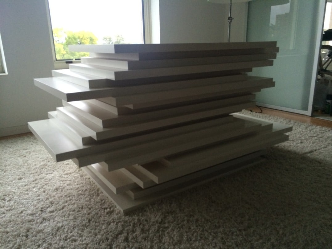 Stacked Linnmon X22 Dining Table W Glass Top Ikea