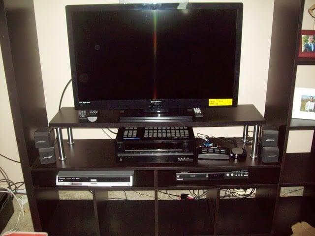 added shelf for expedit tv storage unit ikea hackers. Black Bedroom Furniture Sets. Home Design Ideas